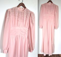 Vintage 1940s Dress // 40s Powder Pink Crepe Chiffon Bombshell Party Gown with Rhinestone Studs // Cover Girl // DIVINE by TrueValueVintage on Etsy