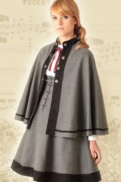 : Military Cape by Excentrique Lolita Fashion, Retro Fashion, Girl Fashion, Fashion Design, Steampunk Costume, Steampunk Fashion, Dress Outfits, Girl Outfits, Fashion Outfits