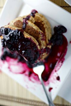 banana oat pancakes with blueberry sauce ~vegan, gluten free~ - BeginWithin Nutrition