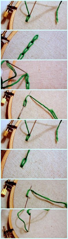 9.CHAIN STITCH    For a perfect view of the design you should make a design from pencil on the paper. When the design is complete you can draw on it from thread and make it look perfect.