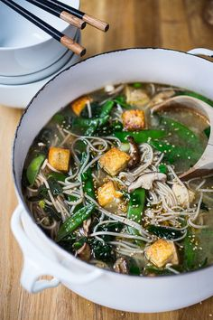 sesame soba noodle soup with snow peas, shittakes and tofu