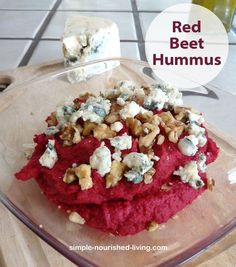 With it's deep pink color, this Red Beet Hummus with crumbled blue cheese and walnuts just screams spring. It would make a perfect Easter Appetizer. Healthy + Delicious. 90 calories + 3 WWPP per generous serving. http://simple-nourished-living.com/2015/03/red-beet-hummus-recipe/