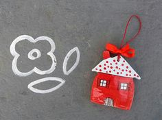Red Hood polka dot ceramic hanging house by IoannasVeryCHic, 15.00