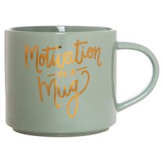 "Clay Art Stackable Mug 15oz Porcelain - ""Motivation in a mug"", Dark Grey"