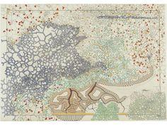 "peinture française : Marta Caradec, 2012, ""Baie de Santander"", 2010, carte peinte, femme artiste"