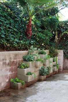 This concrete block vertical planting still inspires me. Apartment Therapy: LA-MaigretHouseTour-BethanyNauert
