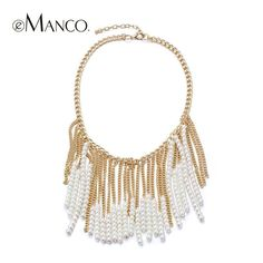 Golden chain necklace pearl tassel statement new spring arrival 2015 for women eManco zinc alloy trendy necklaces NL11056