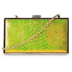 Nasty Gal WANT A Piece of Snake Clutch ($40) ❤ liked on Polyvore featuring bags, handbags, clutches, gold, green clutches, chain strap handbag, gold purse, green purse and gold handbags