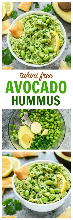 With this easy tahini-free avocado hummus recipe, you don't need tahini to create a super flavorful hummus dip! Made with avocado, edamame, fresh lemon, and garlic. Vegan, gluten free, and packed with flavor! | www.wellplated.com @wellplated