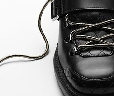Calfskin short boots with sheepskin... - CHANEL
