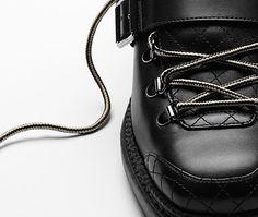 Calfskin short boots with sheepskin... - CHANEL