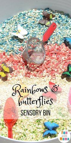 Rainbows and Butterflies Sensory Bin for Kids #sensorybins #butterflies #rainbows #sensoryprocessing