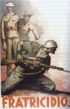 """Fascist Italian image a British """"Tommy"""" and an American black soldier laugh at the sight of an Italian soldier apparently fighting against his brother who stayed loyal to Mussolini. Friedman, Race as a Military Propaganda Theme) Ww2 Propaganda Posters, Italian Posters, Italian Army, Historical Pictures, Advertising Poster, Japan, World War Ii, Vintage Posters, Wwii"""