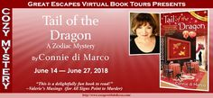 Spotlight: Tail of the Dragon by Connie di Marco ~ Great Escapes Book Tour! Indie, Crime Fiction, Ask For Help, Nonfiction, Zodiac, Mystery, Dragon, Tours, Author