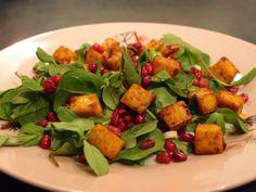 Marinated tofu and pomegranate salad