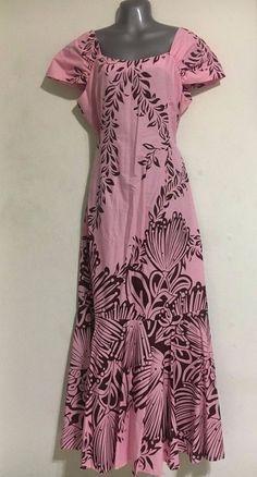 bcc583e7dfa7 Hawaiian Muumuu Dress - Small - Light Pink Brown - Long Floral Hawaii Mumu  New