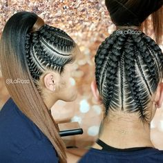 Ideas braids bob feed in for 2019 Feed In Braids Ponytail, Cornrow Ponytail, Hair Ponytail Styles, Feed In Braids Hairstyles, Braided Ponytail Hairstyles, Weave Hairstyles, Girl Hairstyles, Braided Ponytail Weave, Braids Cornrows