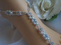 Pearl Blue Crystal and Rhinestone Barefoot Sandal Foot Jewelry | barefootjewelrybyangel - Wedding on ArtFire