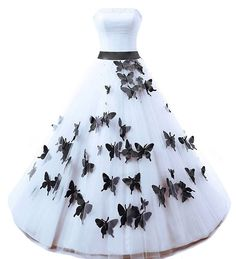 Kivary Strapless A Line White and Black Butterfly Gothic Pearls Long Prom Gowns Wedding Dresses US 6. Fabric is tulle, Strapless neckline with elegant pleats, A line long skirt with butterflies floral designs, Simple sash and bow. This is a custom made dress even if standard size. Please find a soft tape to measure yourself and check size chart, keep tape loose, otherwise will be too tight or large for you. For custom made size, please message and contact us Bust, Waist, Hips, Height with...
