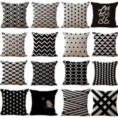 Kissenbezüge 45x45 Geometrisch Schwarzweiß Deko Baumwolle Leinen Kissenhüllen