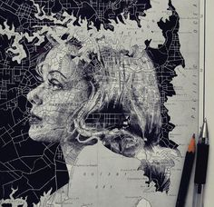 In an intriguing blend of cartography and illustration, UK artist Ed Fairburn uses maps as his canvases for stunning ink and pencil portraits. Faces are fr Ed Fairburn, Art And Illustration, Portrait Illustration, Art Et Design, Art Du Monde, Art Carte, A Level Art, Vintage Maps, Map Art