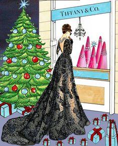 Christmas with Audrey Hepburn- Fashion Illustration (Print) Noel Christmas, Christmas Fashion, Christmas Pictures, Vintage Christmas, Xmas, Illustration Noel, Christmas Illustration, Fashion Quotes, Fashion Art