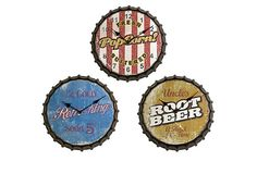 "$49 14"" S/3 Bottle Cap Clocks on OneKingsLane.com"