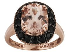 Cor-de-rosa Morganite (Tm) 2.45ct With .80ctw Black Spinel 14k Rose Gold Ring Web Only