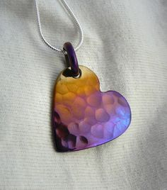 Pendant,Titanium, Hammered Heart  in Purple and Gold Wow isn't this beautiful!