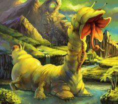 Huge Slug Monster by purplekecleon on DeviantArt Weird Creatures, Magical Creatures, Troll, African Mythology, Strange Beasts, Legendary Creature, Monster Design, Cryptozoology, Folklore