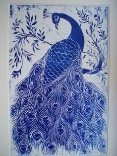 Blue Peacock linoprint