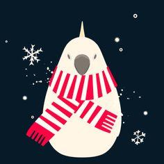 Winter cockatoo #torinoiro #xtrapop #cockatoo #bird Bird Illustration, Cockatoo, Illustrations And Posters, Birds, Cookies, Winter, Art, Crack Crackers, Winter Time