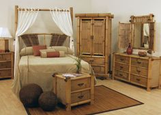 Wicker Bedroom Furniture Sets on Rattan Hawaii Bamboo Queen Bedroom Set 4 Pc Set 306 B Q Wicker Bedroom Furniture, Wicker Couch, Wicker Shelf, Wicker Table, Bamboo Furniture, Pallet Furniture, Bedroom Decor, Garden Bedroom, Wicker Trunk