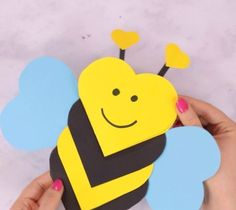 This heart bee craft is both a craft and a super cute Valentines day card kids c. This heart bee craft is both a craft and a super cute Valentines day card kids c. Valentine's Day Crafts For Kids, Valentine Crafts For Kids, Valentines Diy, Projects For Kids, Diy For Kids, Holiday Crafts, Activities For Kids, Craft Projects, Craft Ideas