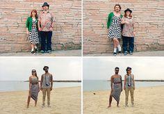 Casais trocam de roupas em um novo ensaio fotográfico divertido