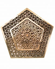 Bronze cast sample of a component for a 5-fold self-similar Islamic geometric pattern the is a hybrid of the Persian styles A and B. Des...