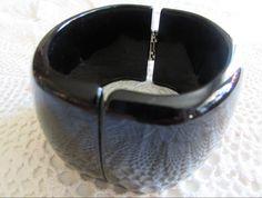Vintage Black Clamper Bangle/Vintage Plastic Jewelry/Vintage Lucite Jewelry/Vintage Costume Jewelry - FREE SHIPPING!!! by OwlMansionJewels on Etsy