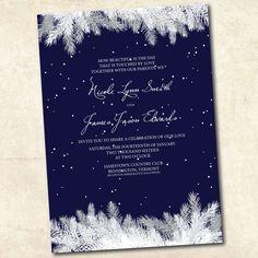 Winter Wedding Invitation  Navy Blue Winter by LivingHueDesign