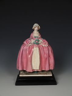 Gwendolen Parnell Chelsea Cheyne Hand Modeled Figure in Century Dress, by Mary Lyall. Art Nouveau, 18th Century Dress, Queen Mary, Chinoiserie, Pottery Art, Chelsea, British, Beautiful, Christmas Ornaments