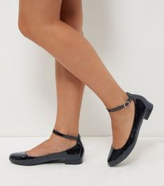 Black Patent Ankle Strap Pumps | New Look