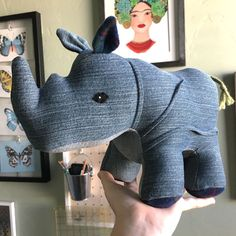 Handmade using deliciously soft vintage denim, this plush Rhino is sure to become a unique and treasured friend. This Rhino makes a great baby shower, birthday, or Christmas gift for any child. Handcrafted with love, Rumble is perfect for cuddling...