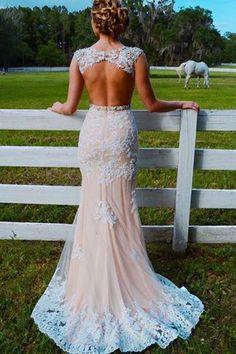 Mermaid Sweep Train Open Back Tulle Prom Dress with Appliques,Mermaid Wedding Dress,N305