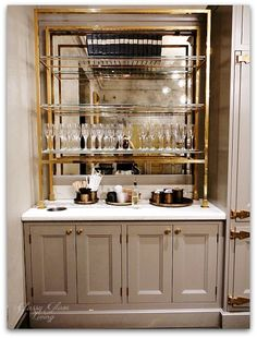 Restoration Hardware Chicago - The Gallery at Three Arts Club — Classy Glam Living Glass Shelves Kitchen, Bars For Home, Home Bar Designs, Bar Room, Home, Bar Design, New Kitchen Cabinets, Restoration Hardware Kitchen, Kitchen Remodel