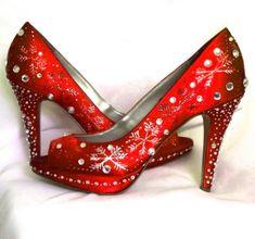Wedding Shoes Snowflakes #Design #Christmas  Winter Wedding Red Lipstick By Norakaren, $275.00