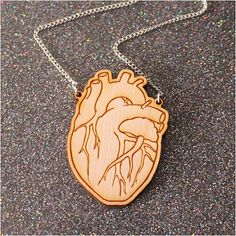 Anatomical Heart necklace - laser cut wood $19.30