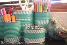 reciclar con washi tape latas
