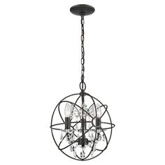 Industrial-style iron pendant with an enclosed crystal chandelier design.    Product: PendantConstruction Material: