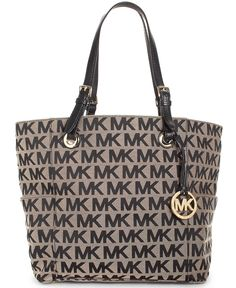 MICHAEL Michael Kors Handbag, Block Monogram Signature Tote - Handbags & Accessories - Macy's beige/ebony/vanilla