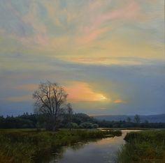 """Renato Muccillo ~ """"Silver Valley at Dawn"""" ~ Oil on Panel 12x12"""