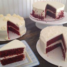 Red Velvet Wedding Cake samples! By bobbiebakes!